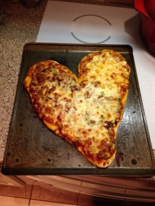 The heart-shaped pizza